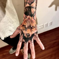 Image Fox tattoo Lincoln Lima in Fox tats album Wolf Tattoos, Wolf Tattoo Back, Small Wolf Tattoo, Wolf Tattoo Sleeve, Small Hand Tattoos, 1 Tattoo, Skull Tattoos, Animal Tattoos, Body Art Tattoos