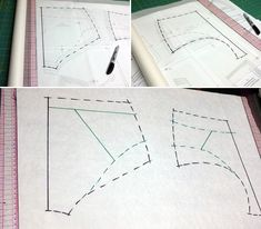 step one The sloper pattern's style is full coverage to offer you the range to make whatever style you wish (anything from a high waisted retro panty to a thong!), so I wanted to make my pair a bit more sleek and with less coverage. Underwear Pattern, Lingerie Patterns, Bralette Pattern, Bra Pattern, Sewing Blogs, Sewing Hacks, Sewing Ideas, Sewing Projects, Fashion Design Classes