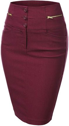 J.TOMSON Womens Detailed Pencil Skirt BURGUNDY SMALL at Amazon Women's Clothing store: African Fashion Ankara, Romper With Skirt, Work Skirts, Classy Dress, Work Attire, Skirt Outfits, Women's Fashion Dresses, Chiffon Dress, Clothes For Women