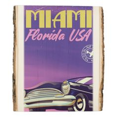 Miami Florida USA vintage poster Wood Panel - american travel gifts giftideas traveller america