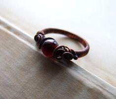 Burgundy Garnet Ring Wire Wrapped Romantic Burgundy by KicaBijoux