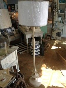 Natural Wood Floor Lamp with White Linen Shade $395