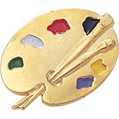 Gold artists paint palette pin with 6 dabs of hand filled enamel colored paints and a brush. Great for artists, art shows, or art classes. Arts Award, Christian Jewelry, Art Club, Artist Painting, Lapel Pins, Paint Colors, Palette, Awards, Enamel