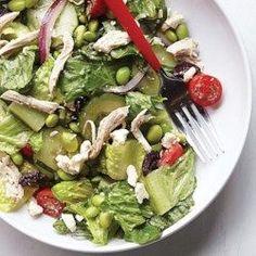 Edamame & Chicken Greek Salad - EatingWell.com Greek Salad Recipes, Salad Recipes For Dinner, Lunch Recipes, Cucumber Recipes, Lunch Meals, Lunch Box, Dinner Salads, High Protein Lunch Ideas, Diet Lunch Ideas