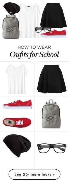 """Cute School Outfit"" by elanor-weary on Polyvore featuring H&M, Avelon, Vans, Free People and Candie's"