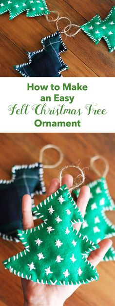 How to Make an Easy Felt Christmas Tree Ornament 2020 – Kunsthandwerk – Crafts Dıy 2020 Sewn Christmas Ornaments, Felt Ornaments Patterns, Easy Ornaments, Diy Felt Christmas Tree, Fabric Christmas Trees, Christmas Decorations For Kids, Christmas Crafts, Christmas Sewing, Homemade Ornaments
