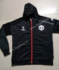 2016-17  Manchester United UEFA Champions League Black Soccer Hooded Thailand Jacket