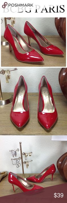 BCBG Red Patent Leather Pointed Heels Red patent leather pointed Stiletto Heels that are great for work or a night out. In good condition with signs of wear such as few light scuffs that are difficult to see (see pics). Thanks for your interest!  Please checkout the rest of my closet BCBG Shoes Heels