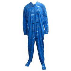 detroit lions onesie for adults   Detroit Lions Guys Onesie Footie Pajama