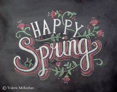 Spring Card - Happy Spring - Easter Card - Chalkboard Art - Hand Lettering- Chalk Art - Colored Chalk. $2,50, via Etsy.
