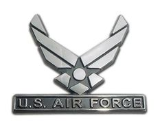 Air Force wings logo chrome car emblem. Show your pride and support for the United States Air Force. Also makes a great gift for your favorite Air Force veteran or Airman.