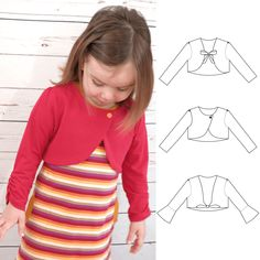 East Coast Cardi is a sewing pattern for knit fabrics including cropped cardi, bolero and tie front shrug by Tie Dye Diva Patterns. Girls cardigan pattern, girls pattern for knits, girls shrug pattern, girls bolero