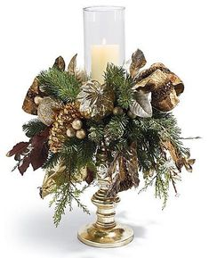 Patina Pre-lit Single Hurricane Arrangement Christmas Decor traditional holiday decorations