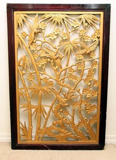 Chinese Japanese Antique bird bamboo Carving Window Screen Wall Transom Panel