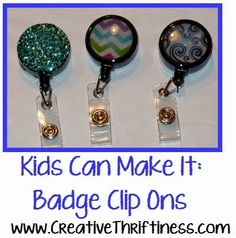 How to make a photo badge reel crafty things pinterest badges creative thriftiness kids can make it 2 id badge clips more solutioingenieria Image collections
