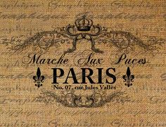 paris arpillera coronita Paris Flea Market French Text Typograhphy Words Crown Ornate Digital Image Download Transfer For Pillows Totes Tea Towels Burlap No. 1815