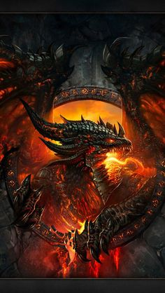 Dragon Deathwing from World of Warcraft: Cataclysm Foto Fantasy, Dark Fantasy Art, Fantasy Artwork, Fantasy World, Mythical Creatures Art, Mythological Creatures, Magical Creatures, Digital Art Illustration, Dragon Illustration