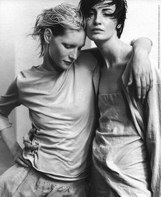 Kristen Owen and Erin O'Connor by Peter Lindbergh for Donna Karan S/S 1999