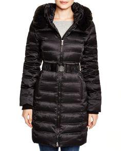 Dkny Faux Fur Trim Belted Puffer Coat