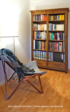Regal für Bücher aus massiv Holz Kiefer - Farbe Antik hell