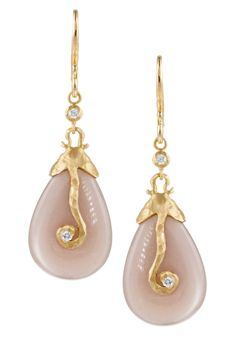 "Pamela Froman Scroll Crush Princess Cap"" Earrings 18k Yellow Crushed Gold with smooth Mocha Moonstone and Diamonds"