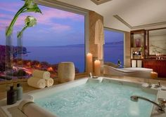 Bathroom with a great view. Who never dreamed about having its own bath tub/jacuzzi pool? They have an important role in luxury interiors or outdoors. See more great decor ideas here: http://www.pinterest.com/homedsgnideas/