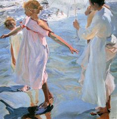 Joaquin Sorolla Y Bastida Bath time, Valencia hand painted oil painting reproduction on canvas by artist Claude Monet, Figure Painting, Painting & Drawing, Watercolor Painting, Valencia, Pierre Auguste Cot, Google Art Project, Illustration Art, Illustrations