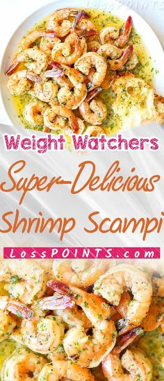 Garlic Butter Shrimp Scampi is so quick and easy! A garlic buttery . Either way it's delicious and even better than an Italian restaurant Scampi! Skinny Recipes, Ww Recipes, Quick Recipes, Weight Watchers Snacks, Weight Watcher Dinners, Quick Healthy Meals, Healthy Eating Recipes, Scampi, Recipes