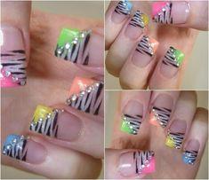 Rainbow Zebra Nails with rhinestones