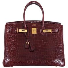Hermes Birkin Bag 35cm Bordeaux Crocodile Gold Hardware Must See (€87.411) ❤ liked on Polyvore featuring bags, handbags, gold purse, red purse, croc handbags, red croc handbag and red handbags