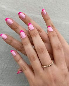 Sydne Style shows spring 2020 nail trends with colorful french manicure nail design Manicure Nail Designs, French Manicure Nails, Pink Tip Nails, Pink Nail Art, Pink Nail Designs, Colorful French Manicure, French Manicure With Design, Colored Tip Nails, Cute Pink Nails