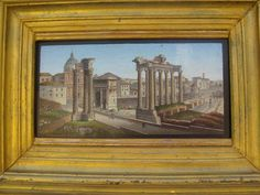 Magnificent Roman Micromosaic plaque depicting the Forum Romanum, first half of the 19th century.