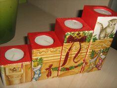 Decoupage Christmas candle holder