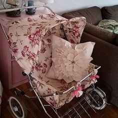 great floral twin pram