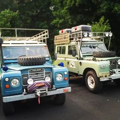 Two old classic Land Rovers ready for action. @drivetheglobe
