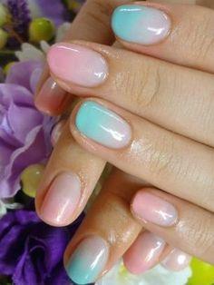 Graduated pastel nail art