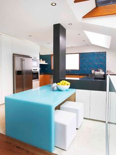Colourful kitchens.