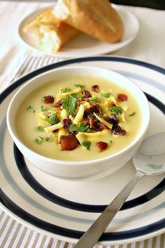 Potato Cheddar Soup http://joansfoodwanderings.blogspot.com/2012/10/cheddar-potato-soup-to-get-you-warm-and.html