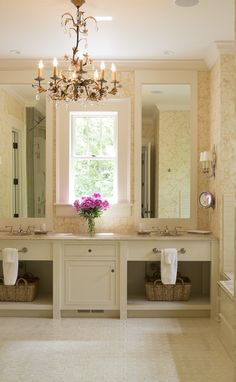 Beautiful bathroom vanity, love the window between the two sinks | Blackberry Farm