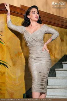 Laura Byrnes- Monica Dress in Champagne and Silver Lurex Knit | Pinup Girl Clothing