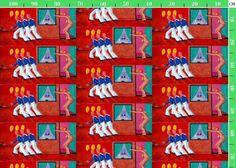 fabric design - Henk van Merkom - oil / canvas - 1995 - Roze Sterrenbeeld