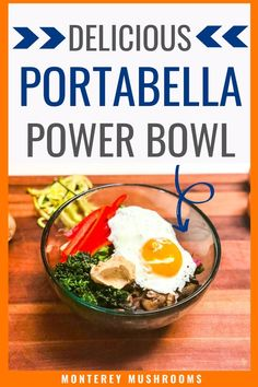 This delicious power bowl recipe is packed with veggies. It's a portabella mushroom recipe that can be eaten for any meal, breakfast lunch or dinner! Baby Bella Mushroom Recipes, Fried Mushroom Recipes, Vegetarian Mushroom Recipes, Oyster Mushroom Recipe, Mushroom Appetizers, Brunch Recipes, Appetizer Recipes, Recipes Dinner