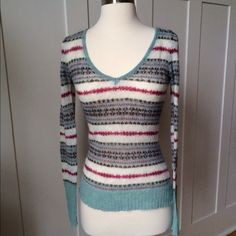 NWOT ArdenB Turquoise/Pink Top New Without Tags.  Arden B Top with Lovely Turquoise and Pink Stripes.  Similar to a light sweater weight.  Size Small. 45% Mohair 40% Nylon 15% Acrylic Arden B Tops