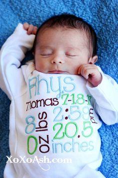 Birth announcement bodysuit or infant gown--Newborns Infants keepsake Photo prop-Newborn Boy-Custom on Etsy, $22.00