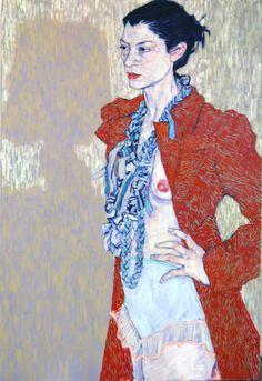 Hope Gangloff (American, b. 1974, Amityville, NY, USA) - Minnewaska Lodge (Blaze Lamper), 2011  Paintings: Acrylics on Linen