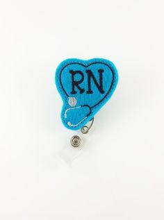 Registered Nurse Stethoscope  Felt Badge Reel by SimplyReelDesigns