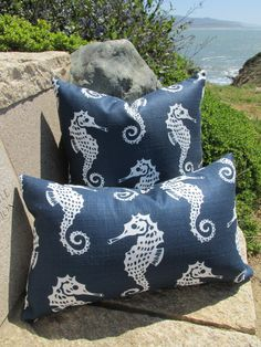 Navy and Ivory Seahorse Pillows - pic taken at Pigeon Point Lighthouse on Hwy 1, CA.  Fun day for a photo shoot!