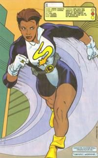Jenni Ognats, is the Granddaughter of the Second Flash. She and her family were attacked by Professor Zoom who created a rift during war and left her family stranded on Earth 247. She possesses the same powers as Flash. She First appeared in 1994.