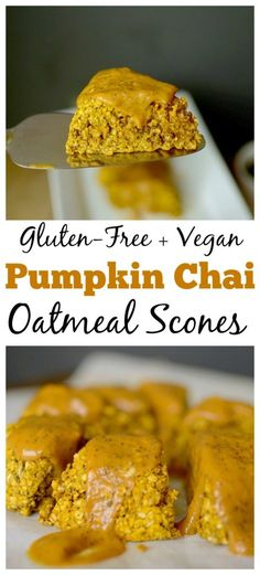 Looking for healthier scones? Make these Vegan Glazed Oatmeal Chai Pumpkin Scones! They taste like fall, but without the gluten and refined sugar! Vegan Pumpkin, Healthy Pumpkin, Pumpkin Recipes, Fall Recipes, Oatmeal Recipes, Sweet Recipes, Vegan Gluten Free, Gluten Free Recipes, Baking Recipes