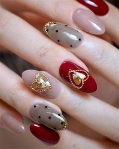 34 Almond Ideas Beautiful Valentine's Day Nails Design Latest Fashion Trends For. - 34 Almond Ideas Beautiful Valentine's Day Nails Design Latest Fashion Trends For … – Japanis - Red Nail Art, Cute Nail Art, Cute Nails, Valentine Nail Art, Holiday Nail Art, Nail Swag, Valentine's Day Nail Designs, Nails Design, Nail Art Halloween